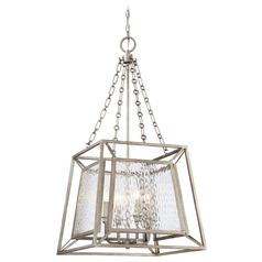Quoizel Lighting Lakeside Vintage Gold Pendant Light with Rectangle Shade