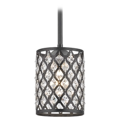 Crystal Matte Black & Phoenix Stem Hung Mini-Pendant Light