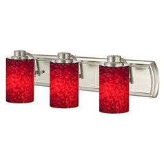 3-Light Bathroom Light with Red Art Glass in Satin Nickel