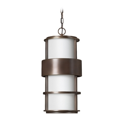 Outdoor Hanging Light with White Glass in Metro Bronze Finish