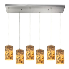 Multi-Light Pendant Light with Beige / Cream Glass and 6-Lights