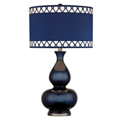 Table Lamp with Blue Shades in Navy Blue with Black Nickel Finish