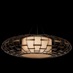 Fine Art Lamps Entourage Rich Bourbon with Golden Mist Highlights Pendant Light with Drum Shade
