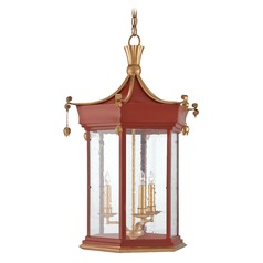 Currey and Company Mandarin Lollipop Red / Gold Leaf Pendant Light