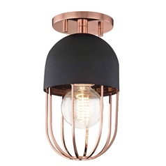 Mid-Century Modern Semi-Flushmount Light Copper Mitzi Haley by Hudson Valley