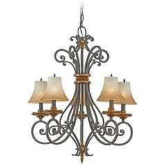 Chandelier with Amber Glass in Monarch Finish