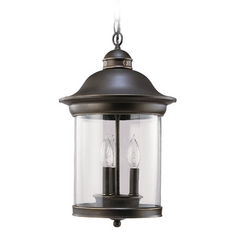 Outdoor Hanging Light with Clear Glass in Antique Bronze Finish