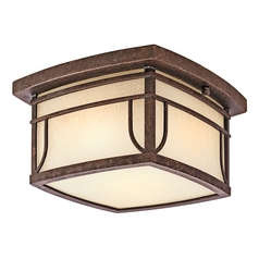 Kichler Close To Ceiling Light with White Glass in Aged Bronze Finish