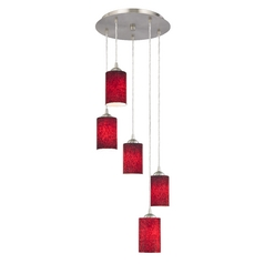 Design Classics Lighting Modern Multi-Light Pendant with Red Cylinder Art Glass and Five-Lights 580-09 GL1018C