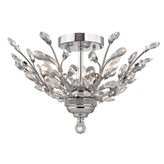 Crystal Semi-Flushmount Light in Chrome Finish