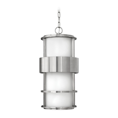 Outdoor Hanging Light with White Glass in Stainless Steel Finish