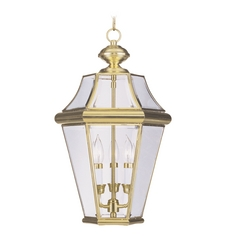 Livex Lighting Georgetown Polished Brass Outdoor Hanging Light