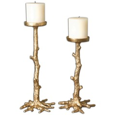 Uttermost Maple Gold Candleholders, Set of 2