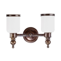 Bathroom Light with White Glass in Antique Nickel Finish