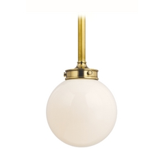 Modern Pendant Light with White Glass in Aged Brass Finish