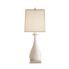 Table Lamp with Beige / Cream Shade in White Finish