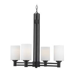 Modern Chandelier with White Glass in Oil Rubbed Bronze Finish