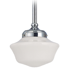 8-Inch Chrome Schoolhouse Mini-Pendant Light