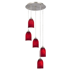 Design Classics Lighting Modern Multi-Light Pendant with Red Art Glass and Five-Lights 580-09 GL1018D