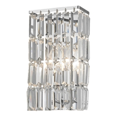 Crystal Sconce Wall Light in Chrome Finish