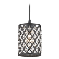 Crystal Matte Black & Phoenix Cord Hung Mini-Pendant Light