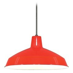 Barn Light Pendant Red 16-inch Wide by Nuvo Lighting