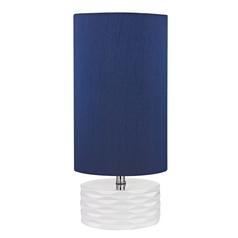 Accent Lamp with Blue Shades in White Finish