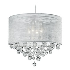 Kuzco Lighting Modern Chrome Pendant Light with Silk Silver Shade