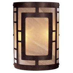 Modern Sconce Wall Light with Beige / Cream Glass in Nutmeg Finish