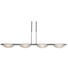 Modern Island Light with White Glass in Oil Rubbed Bronze Finish