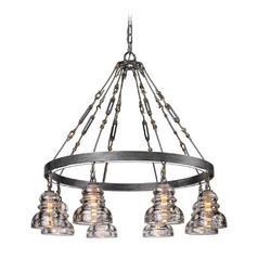 Chandelier with Clear Glass in Old Silver Finish