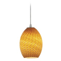 Modern Mini-Pendant Light with Amber Glass