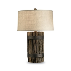Table Lamp with Brown Grasscloth Shade in Natural Wood Finish