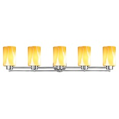 Design Classics Salida Fuse Chrome Bathroom Light with Butterscotch Art Glass