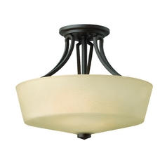Semi-Flushmount Light with Amber Glass in Buckeye Bronze Finish