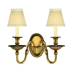 Sconce Wall Light with White Shades in Burnished Brass Finish
