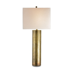 Modern Table Lamp With Beige / Cream Shade In Vintage Brass Finish