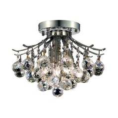 Contemporary Crystal Semi-Flushmount Ceiling Light - 12-Inches Wide