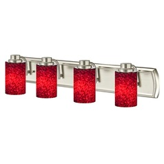 4-Light Bathroom Light with Red Art Glass in Satin Nickel