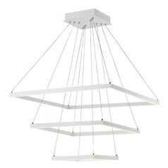 Modern 28-Inch Triple LED Square Pendant Light White Finish 3400LM 3000K