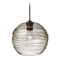 Besa Lighting Wave Bronze Pendant Light with Globe Shade
