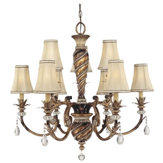 Chandelier with Beige / Cream Shades in Aston Court Bronze Finish
