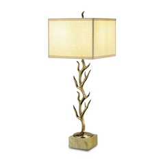 Table Lamp with Beige / Cream Shade in Vintage Brass Finish