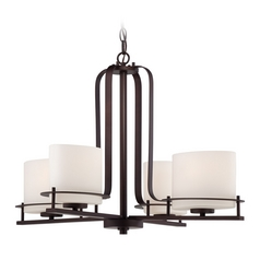 Chandelier with White Glass in Venetian Bronze Finish