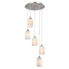 Design Classics Lighting Modern Multi-Light Pendant Light with White Glass and 5-Lights 580-09 GL1020D