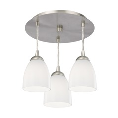 3-Light Semi-Flush Light with Opal White Glass - Nickel Finish