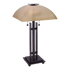 Minka Lavery Lineage Iron Oxide Table Lamp with Square Shade