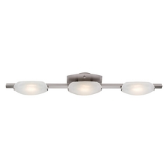 Modern Bathroom Light with White Glass in Matte Chrome Finish
