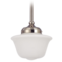 8-Inch Schoolhouse Mini-Pendant Light in Polished Nickel Finish