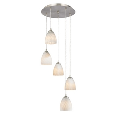 Design Classics Lighting Modern Multi-Light Pendant Light with White Glass and 5-Lights 580-09 GL1020MB